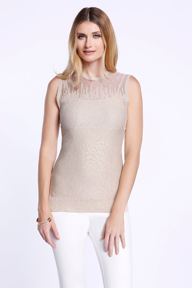 Illusion Knit Tank, Beige, Dolce Cabo