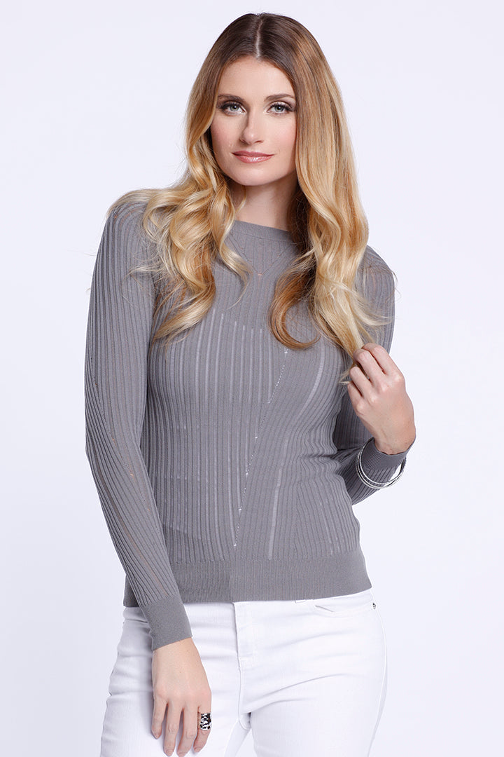 Long Sleeve Knit Top, Taupe, Dolce Cabo