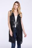 Embroidered Floral Vest, Black, Faux Leather, Dolce Cabo, Duster Vest