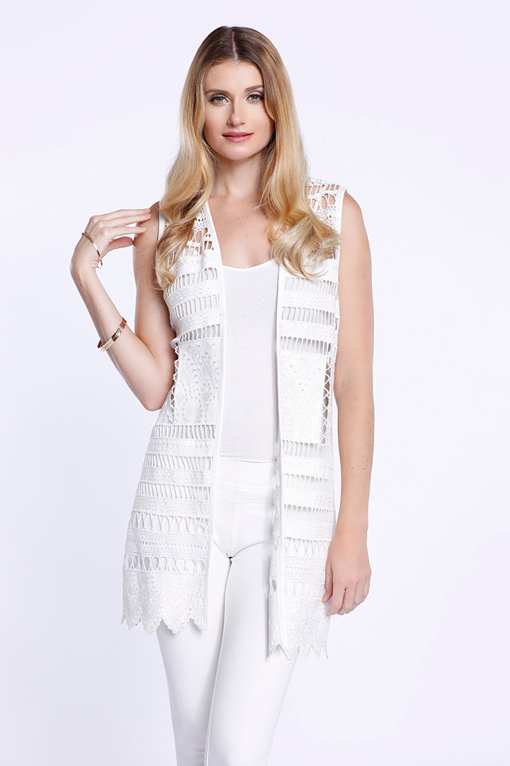 Vegan Leather Cut-Out Vest, Faux Leather, White, Dolce Cabo