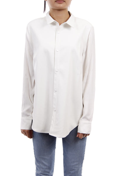 Faux Leather Button Down White Top, Dolce Cabo