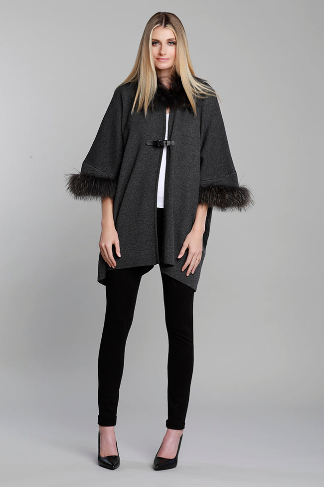 Belted Fur Cardi, Raccoon Fur, Knit, Lambskin Leather, Charcoal Grey, Dolce Cabo