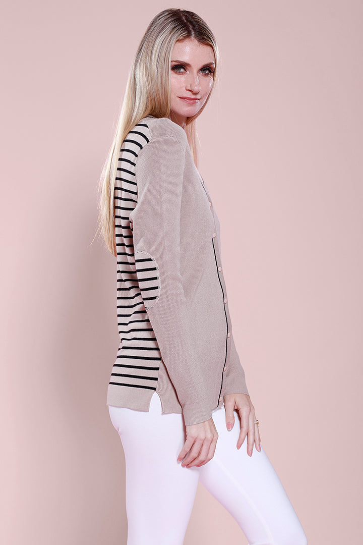 Striped Cardigan,  Knit, Dolce Cabo, Black Tan