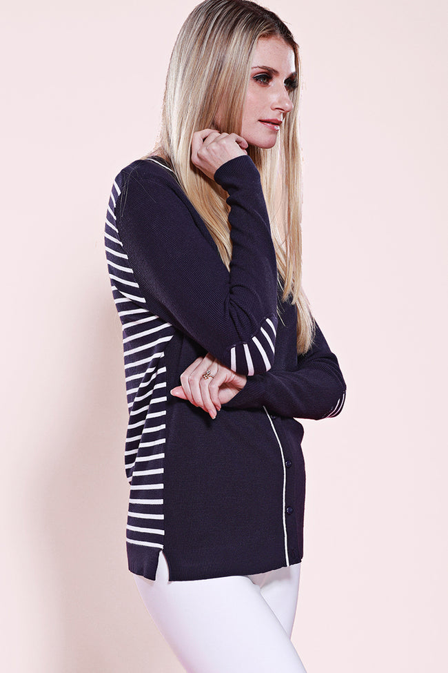 Stripe Elbow Patch Cardigan