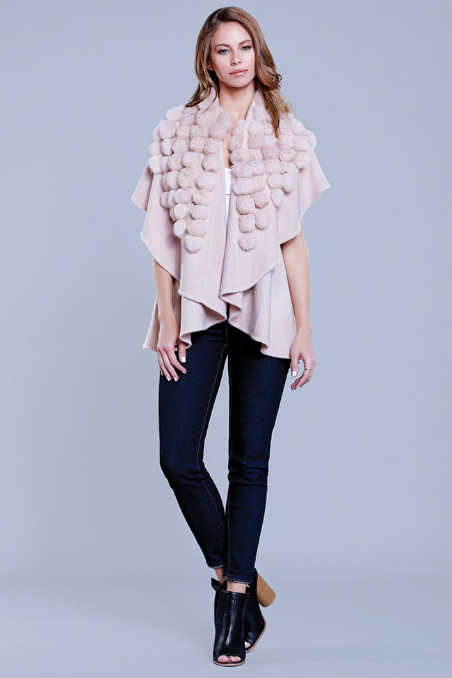 Pom Pom Rabbit Fur Knit Vest, Blush, Dolce Cabo