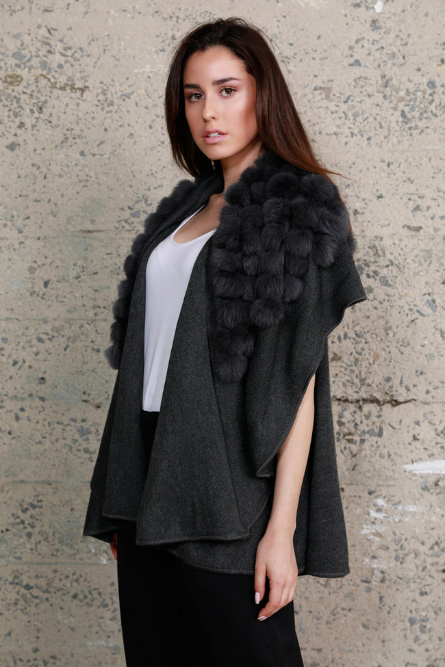 Pom Pom Rabbit Fur Knit Vest, Charcoal, Dolce Cabo