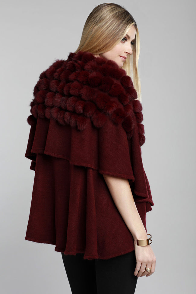 Pom Pom Rabbit Fur Knit Vest, Wine, Dolce Cabo