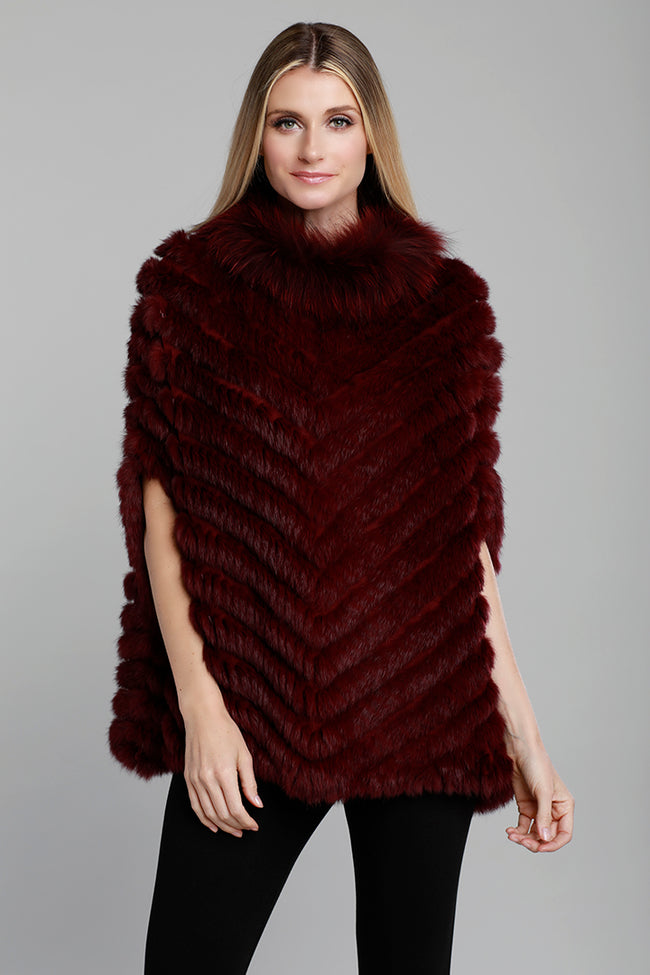 Rabbit Fur Poncho, Fox Fur, Knit, Wine, Dolce Cabo