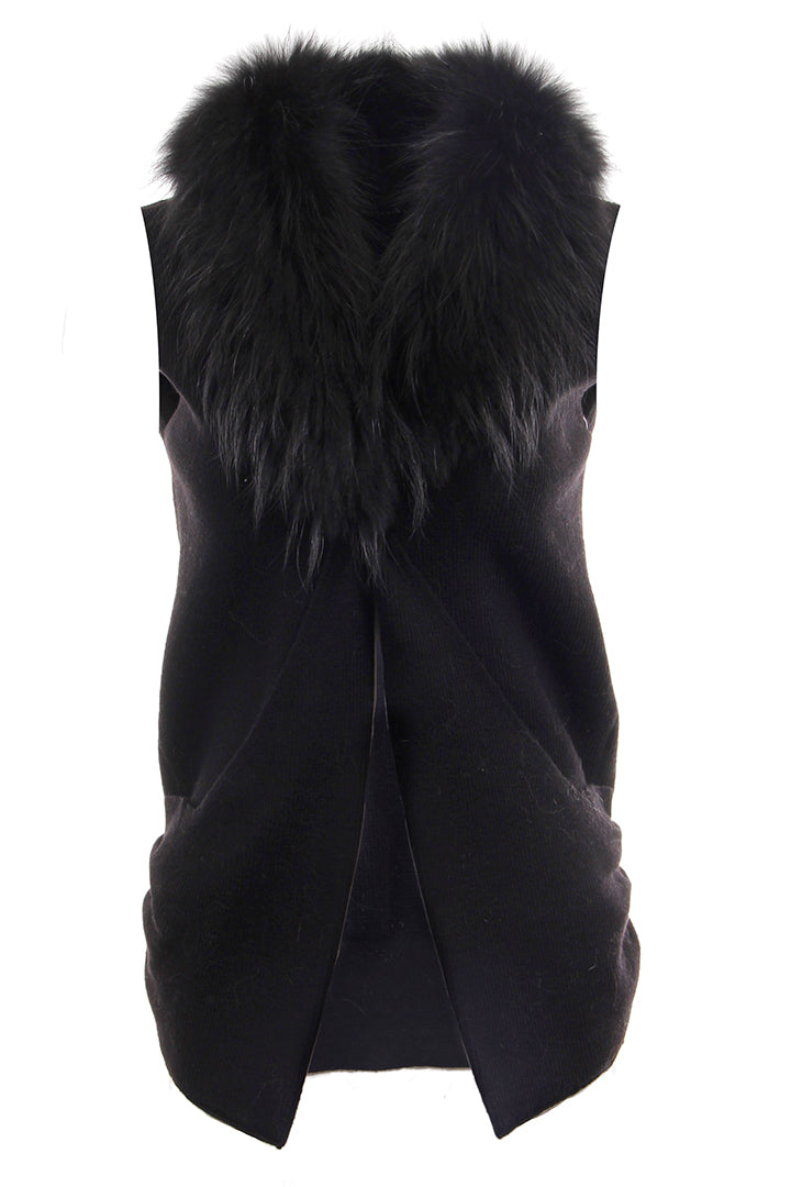 Raccoon Collar Knit Vest, Black, Dolce Cabo