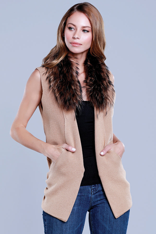 Raccoon Collar Knit Vest, Camel, Dolce Cabo
