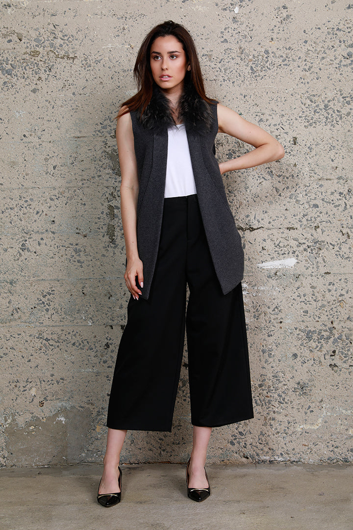 Raccoon Collar Knit Vest, Charcoal, Dolce Cabo