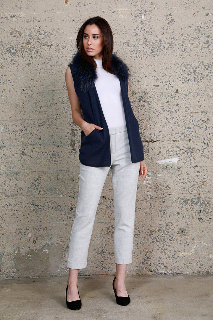 Raccoon Collar Knit Vest, Navy, Dolce Cabo