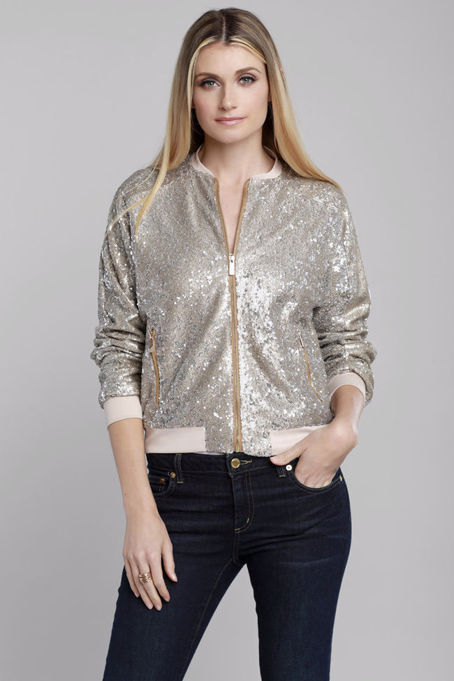 Sequin Bomber Jacket Champagne, Dolce Cabo