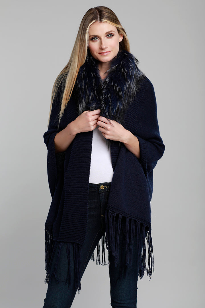 Wool Blend Fringe Wrap with Raccoon Fur