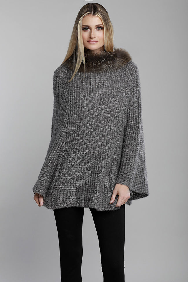 Raccoon Fur, Knit Fur Poncho, Grey, Dolce Cabo