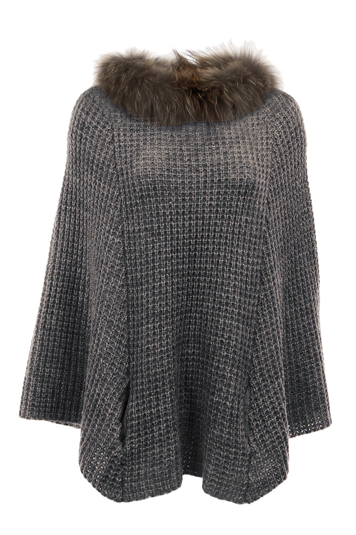 Knit Fur Poncho, Raccoon Fur, Knitted, Grey, Dolce Cabo