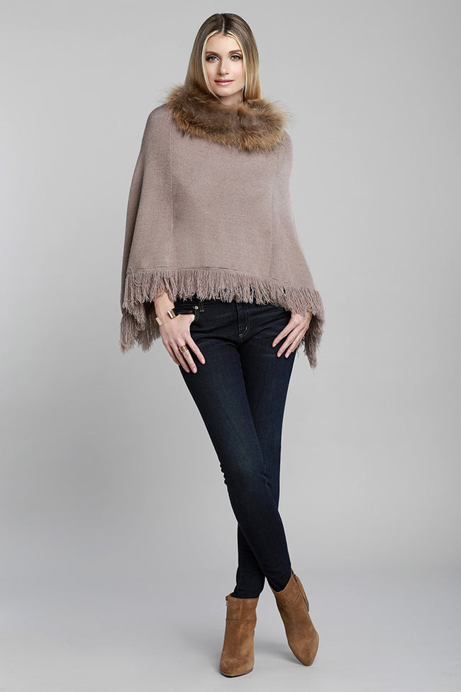 Fur Collar Fringe Poncho, Raccoon Fur, Knit, Taupe, Brown, Fringe, Dolce Cabo