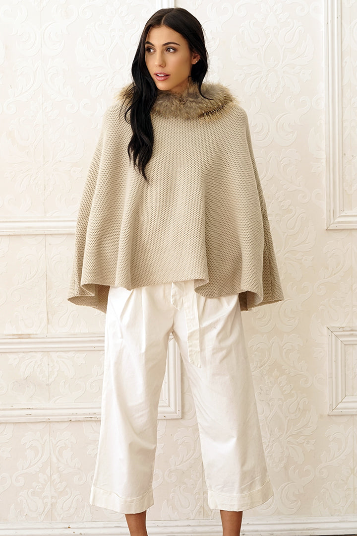 Wool Blend Fur Poncho, Raccoon Fur, Beige, Dolce Cabo