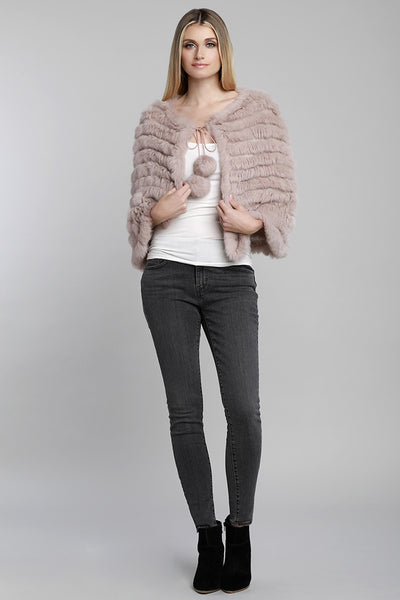 Rabbit Fur Poncho w/ Pom Pom Tie, Dusty Rose, Dolce Cabo