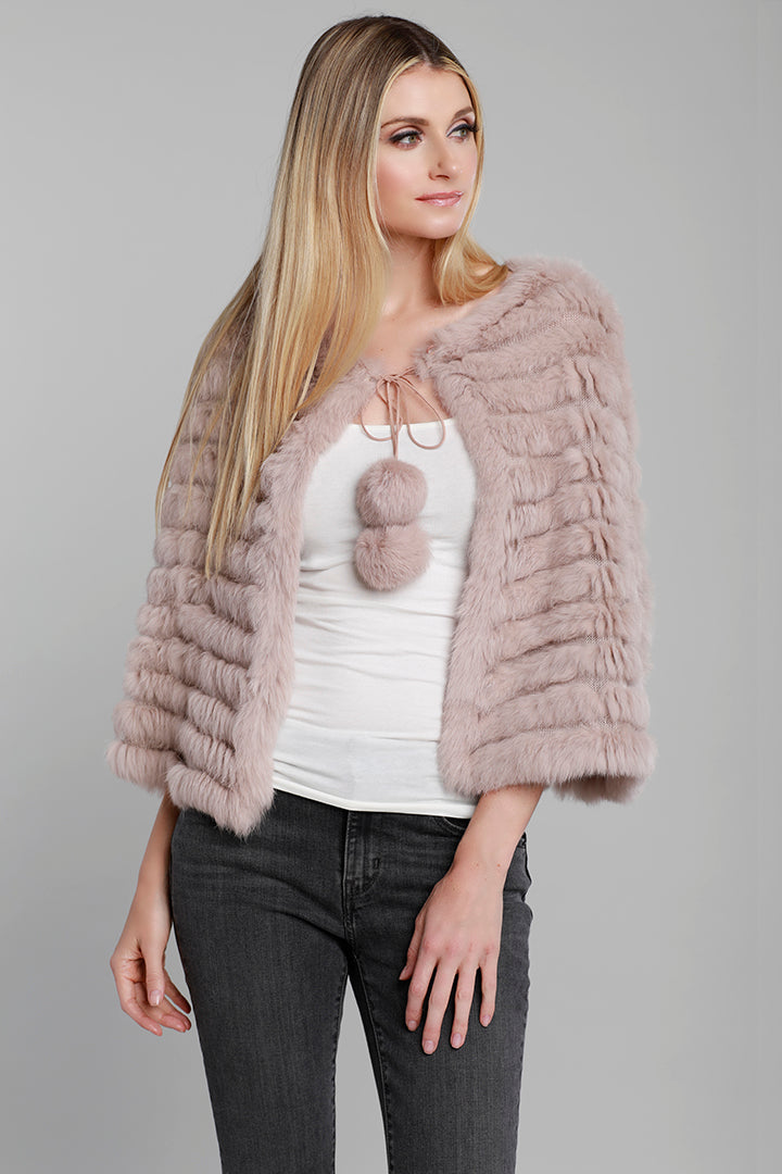Rabbit Fur Poncho, Dusty Rose, Pink, Fur, Dolce Cabo