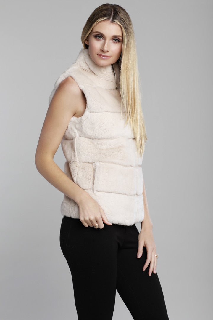 Rex Rabbit Vest, Buff, Beige, Rabbit Fur, Dolce Cabo
