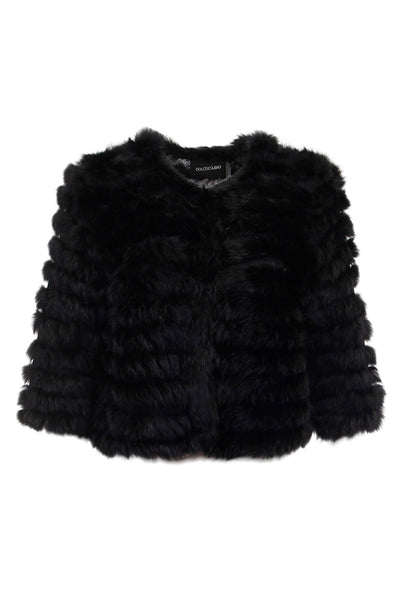Rabbit Fur Crop Jacket, Black, Real Fur, Dolce Cabo