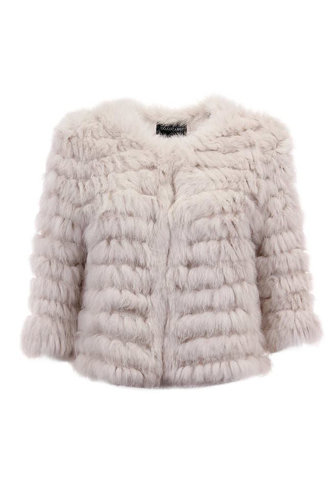 Rabbit Fur Crop Jacket Rabbit Fur, Beige, Dolce Cabo