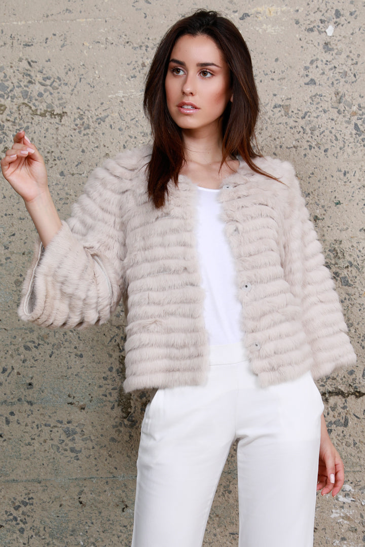 Crop Sleeve Fur Jacket, Rabbit Fur, Beige, Dolce Cabo