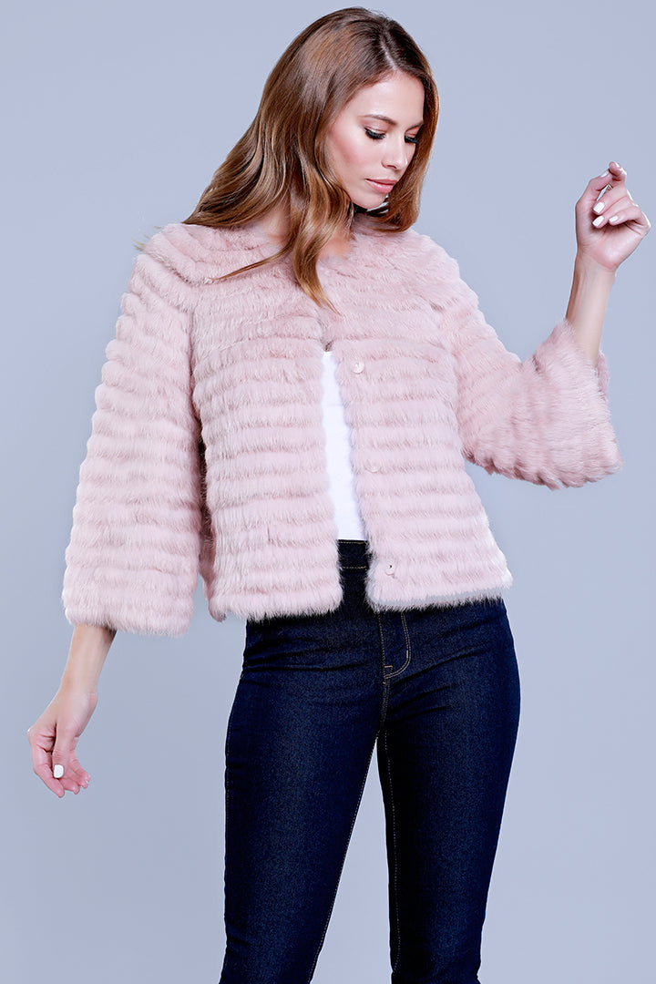 Crop Sleeve Fur Jacket, Rabbit Fur, Blush, Dolce Cabo