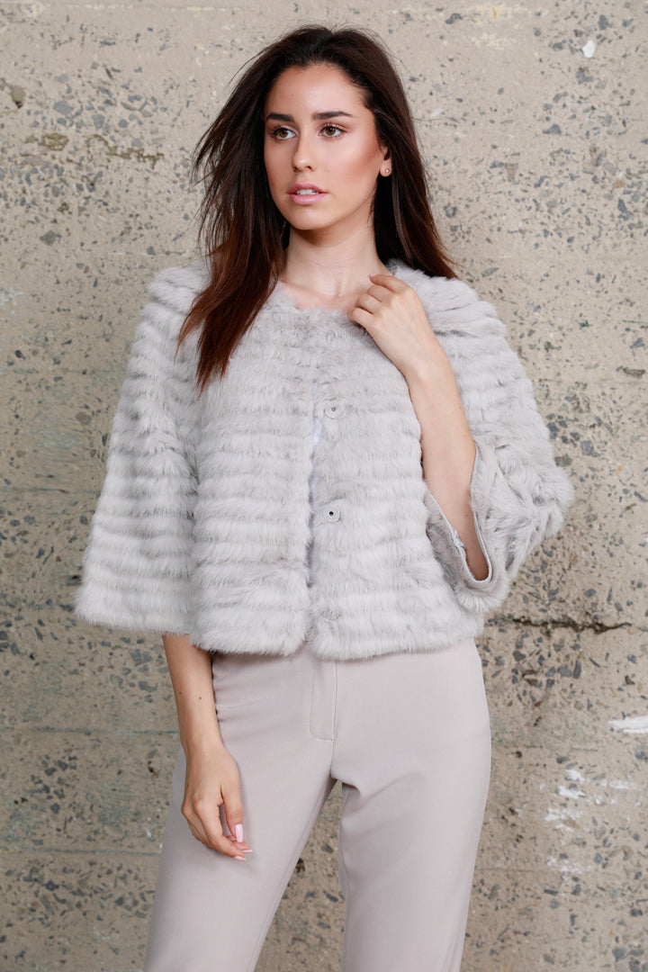 Crop Sleeve Fur Jacket, Rabbit Fur, Grey, Dolce Cabo