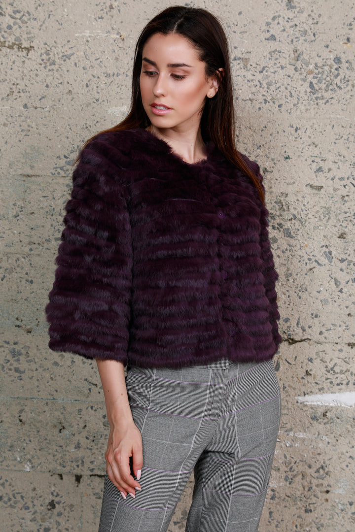 Crop Sleeve Fur Jacket, Rabbit Fur, Purple, Dolce Cabo