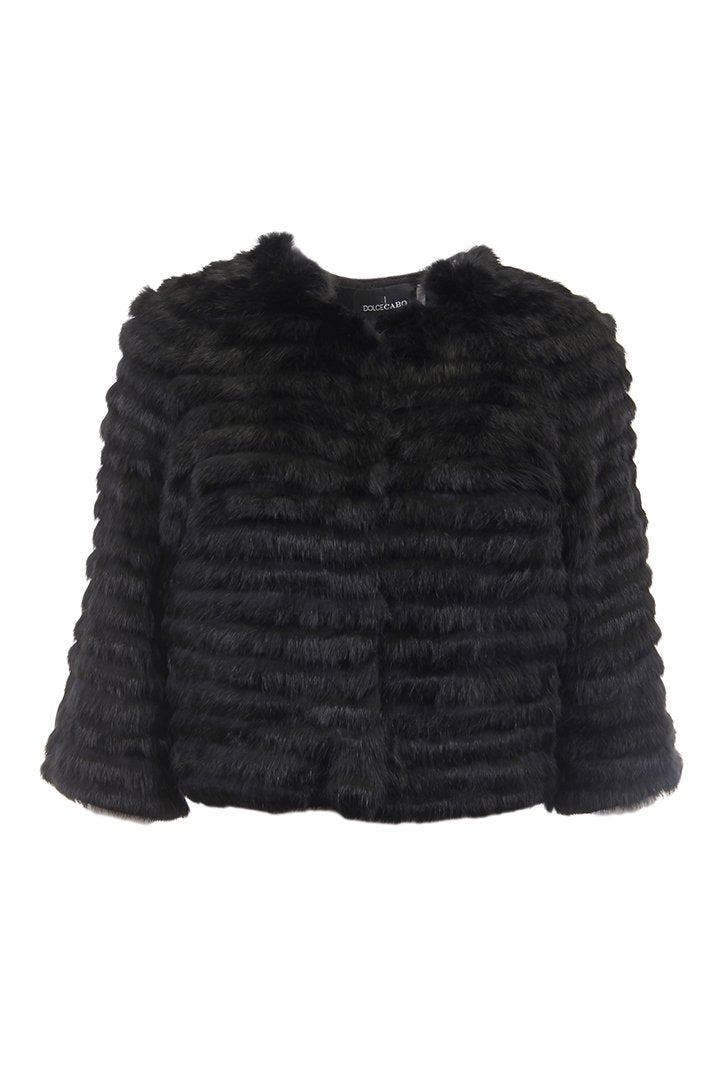 Crop Sleeve Fur Jacket, Black, Dolce Cabo
