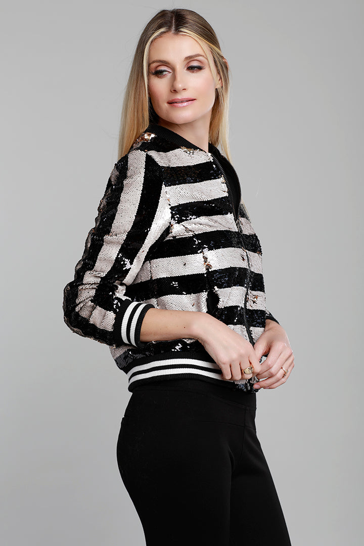 Stripe Sequin Bomber, Gold Black, Dolce Cabo