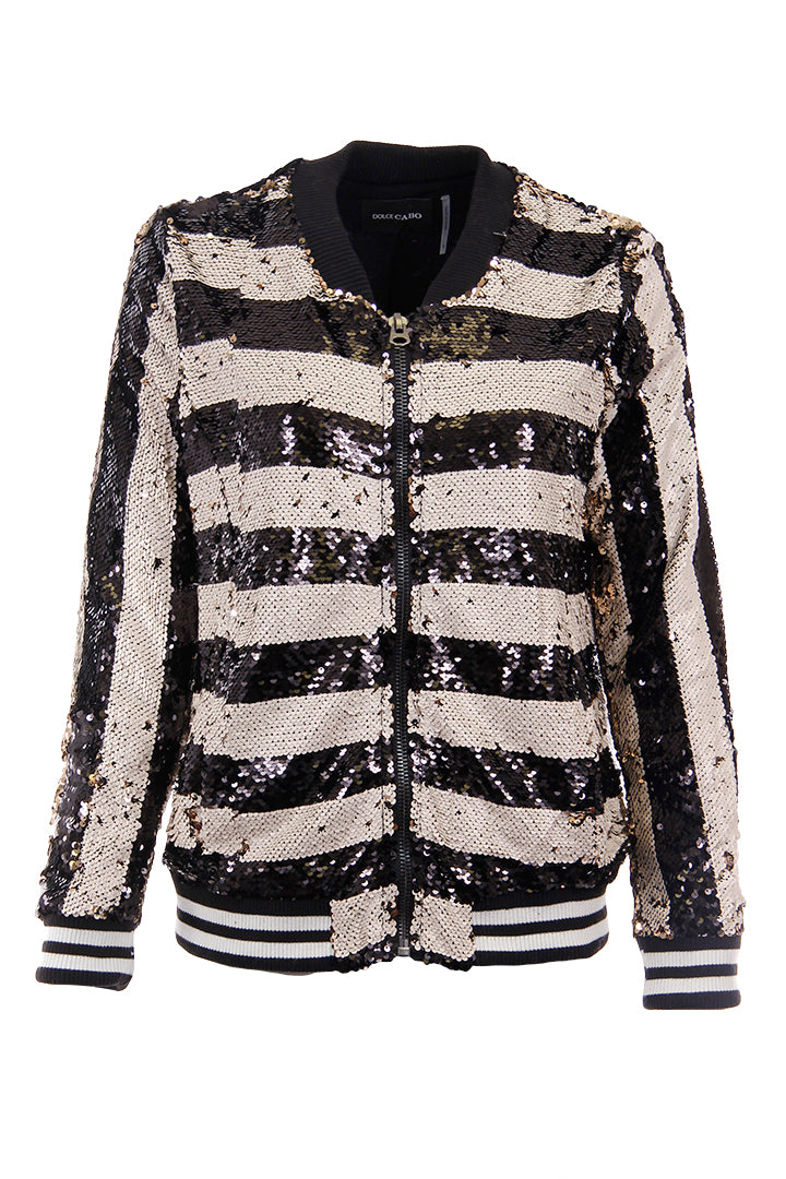Stripe Sequin Bomber Black/White