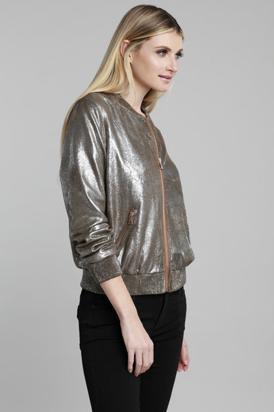 Metallic Bomber Jacket Metallic Army, Faux Leather, Dolce Cabo