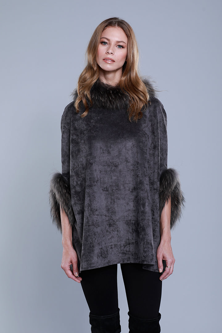 Faux Suede Poncho + Fur, Raccoon Fur, Charcoal, Dolce Cabo