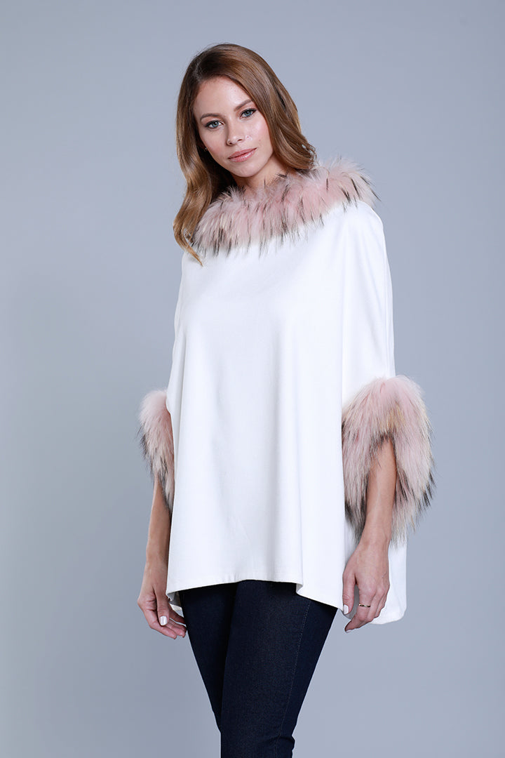 Faux Suede Poncho + Fur, Raccoon Fur, Ivory/Blush, Dolce Cabo