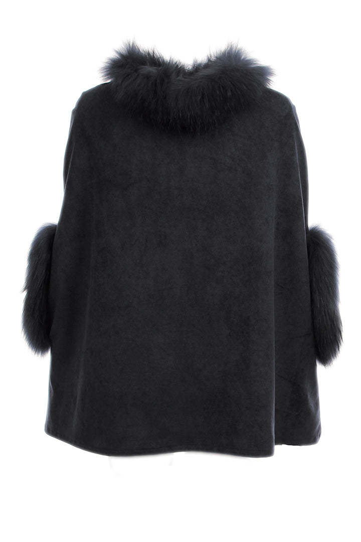 Faux Suede Poncho + Fur, Raccoon Fur, Black, Dolce Cabo