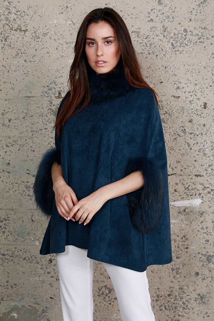 Faux Suede Poncho + Fur, Raccoon Fur, Blue, Dolce Cabo