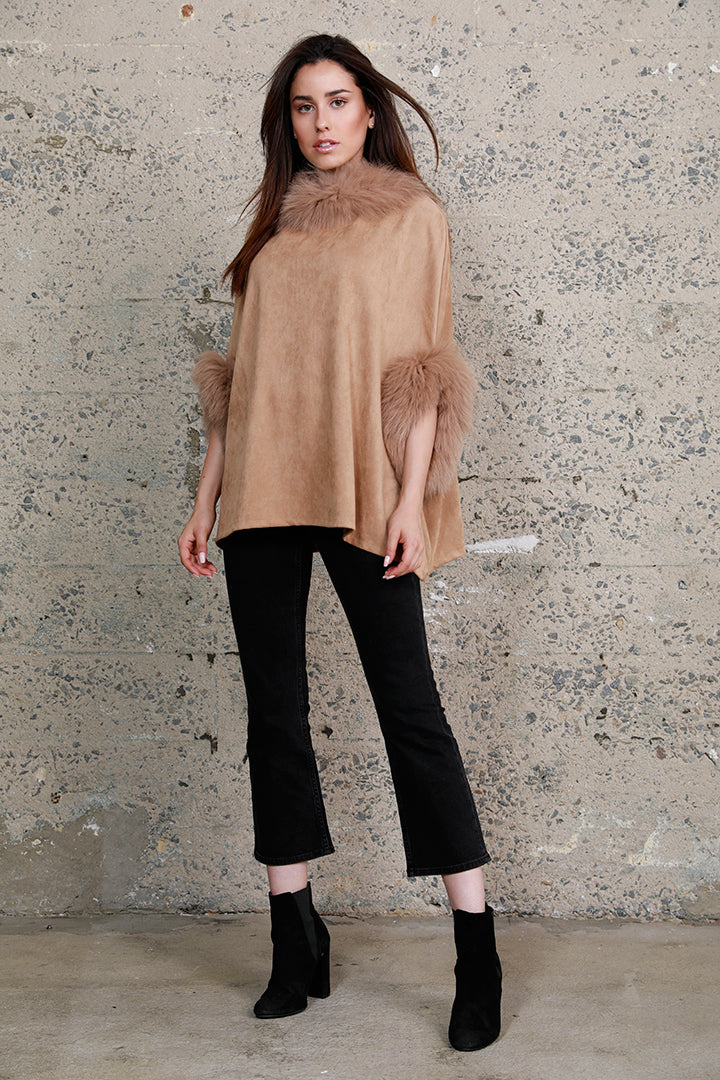 Faux Suede Poncho + Fur, Raccoon Fur, Camel, Dolce Cabo