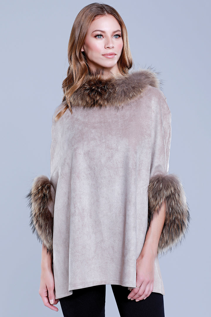 Faux Suede Poncho + Fur, Raccoon Fur, Taupe, Dolce Cabo