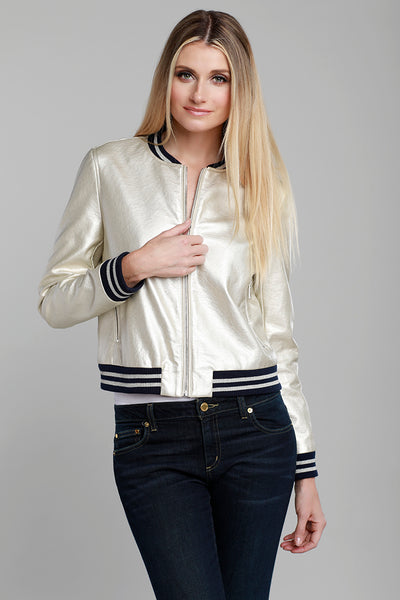 Faux Leather Bomber Jacket, Gold, Metallic, Varsity Jacket, Dolce Cabo