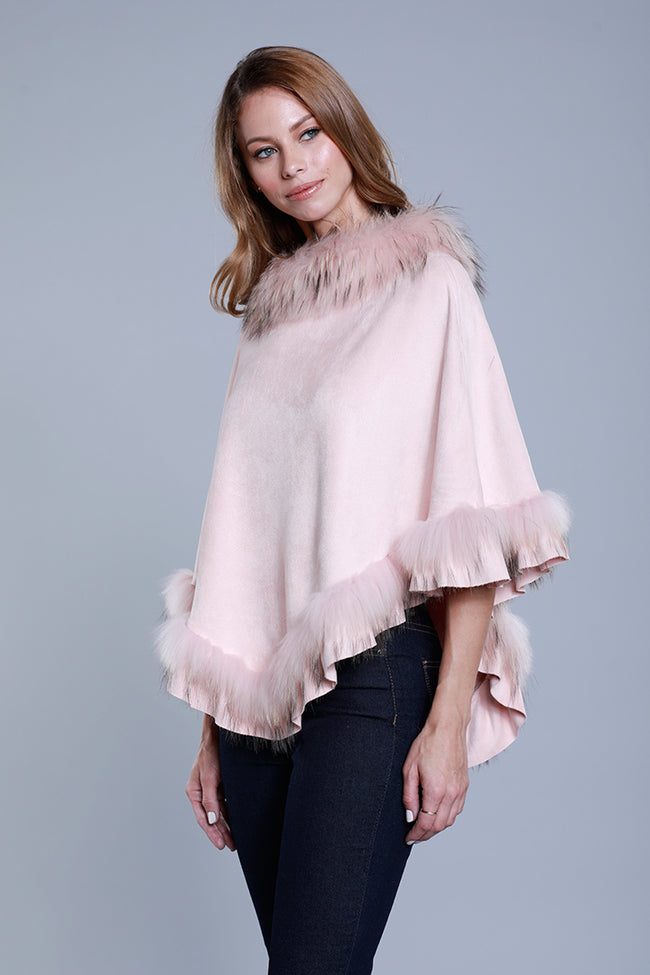 Faux Suede Fur Poncho, Raccoon Fur, Blush, Dolce Cabo