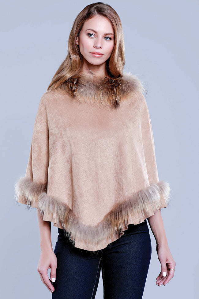 Faux Suede Fur Poncho, Raccoon Fur, Camel, Dolce Cabo