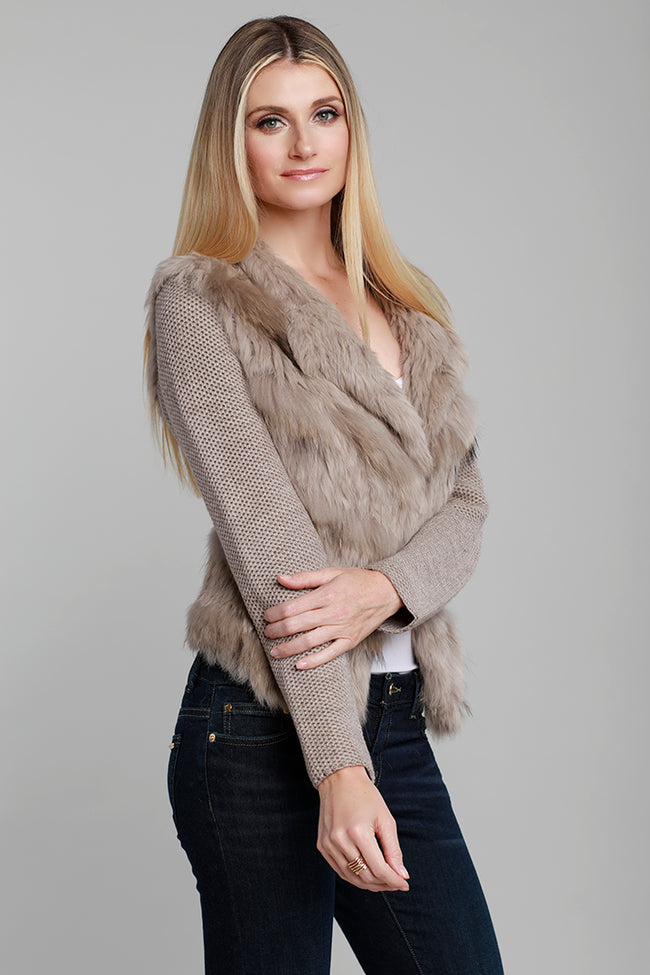 Knitted Fur Jacket, Raccoon Fur, Rabbit Fur, Oatmeal, Tan, Dolce Cabo