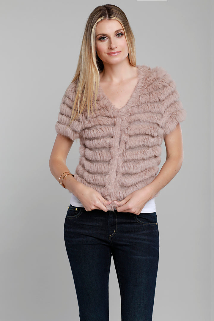 Short Sleeve Fur Jacket, Rabbit Fur, Dusty Rose, Dolce Cabo