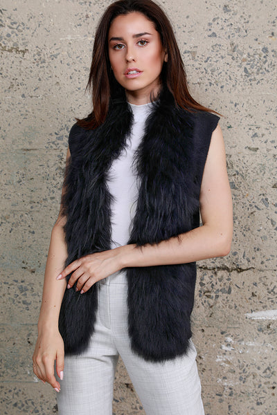 Fox Trim Vest, Navy Blue, Fox Fur, Cashmere Knit, Dolce Cabo