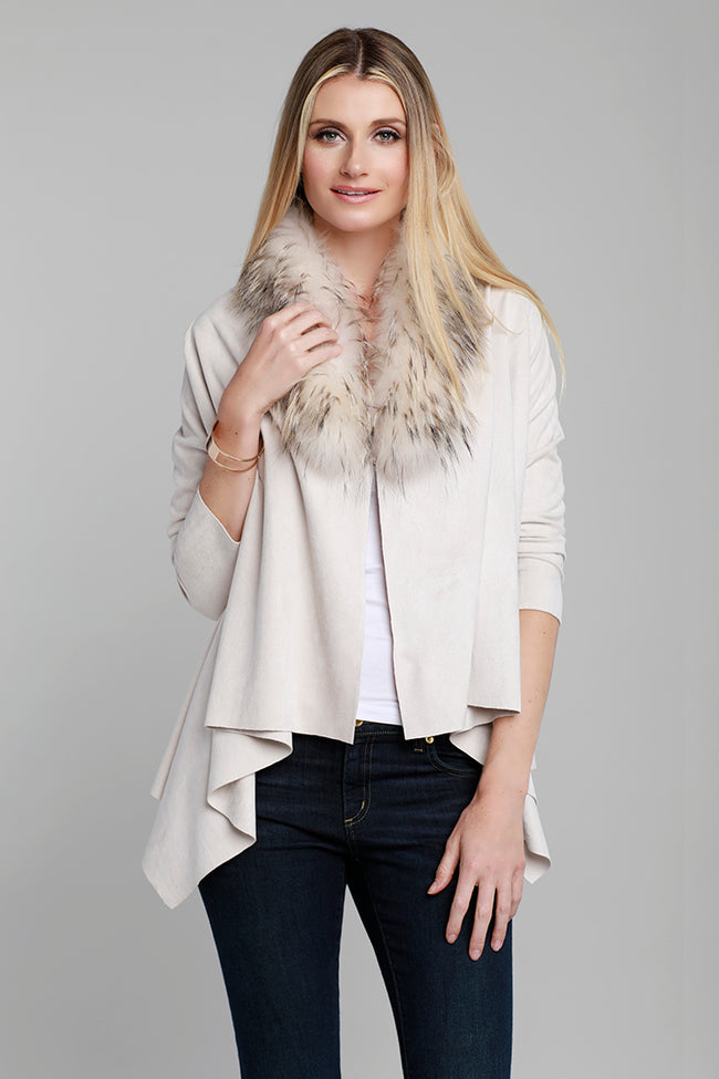 Raccoon Fur Cardigan, Faux Suede, Beige, Dolce Cabo