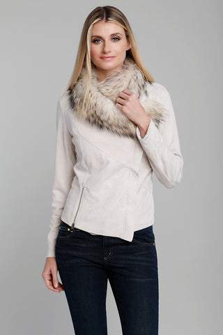Fur Knit Side Zip Poncho