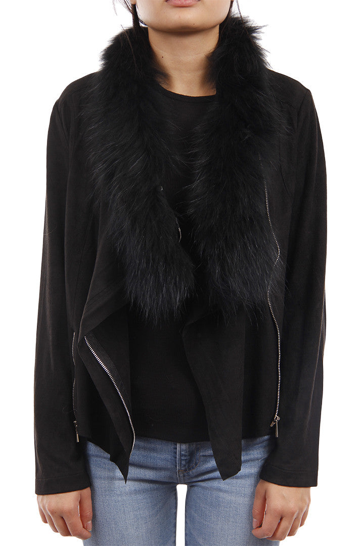 Moto Jacket w/ Fur, Faux Suede, Black, Raccoon Fur, Dolce Cabo